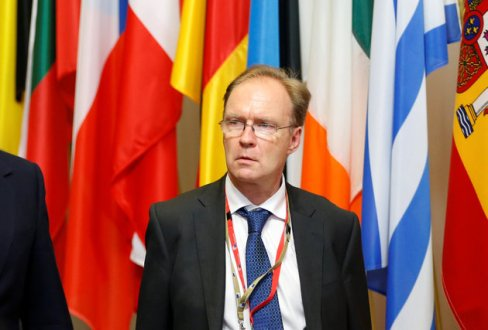 Britain's ambassador to the European Union Ivan Rogers is pictured leaving the EU Summit in Brussels